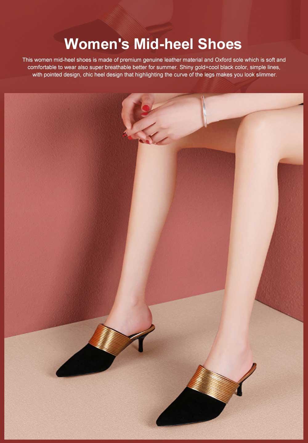 Women's Mid-heel Half Warped Shoes, Comfortable Pointed Toe Casual Shoe, Fashion Pure Color Slim Heel Stiletto Heels 0