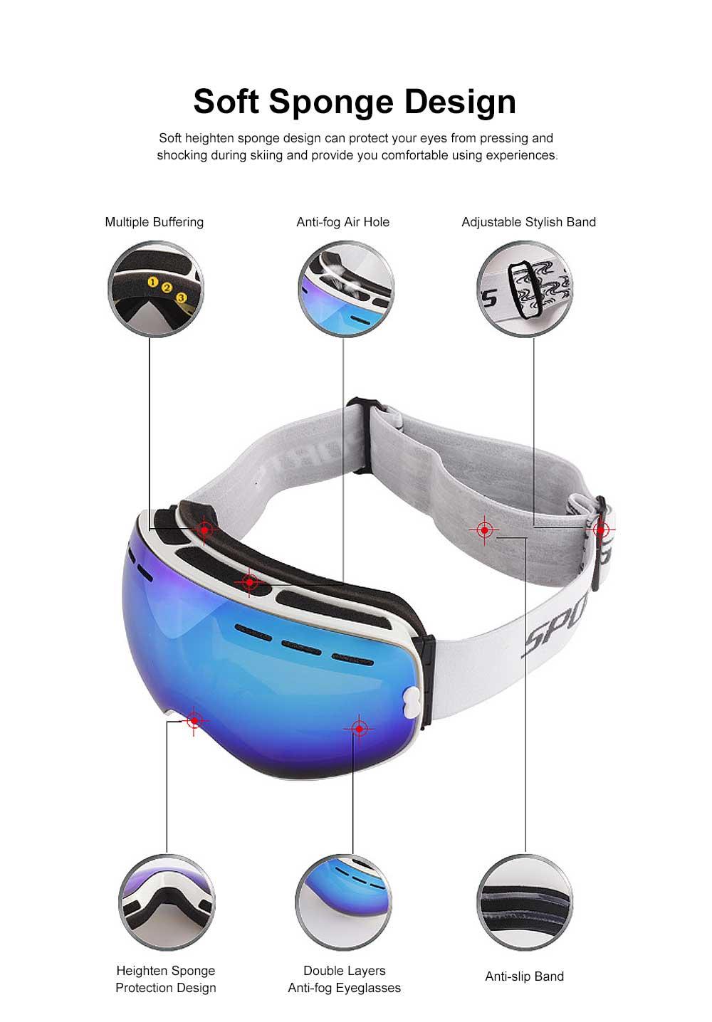 Unisex Anti-fog Ski Snow Sports Goggles, Adjustable Outdoors Snowfield Eye Protector Glasses, Double Layers Snow Sports Goggles 1