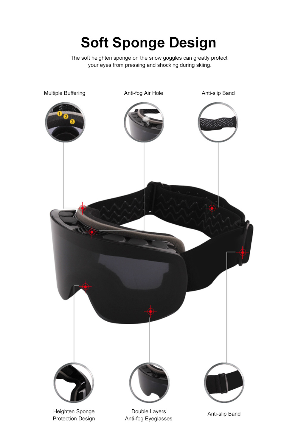 Winter Skiing Cycling Anti-fog Snow Goggles Double Layers, Unisex Cold Outdoors Sporting Eye Protector Glasses for Ski Lovers 1