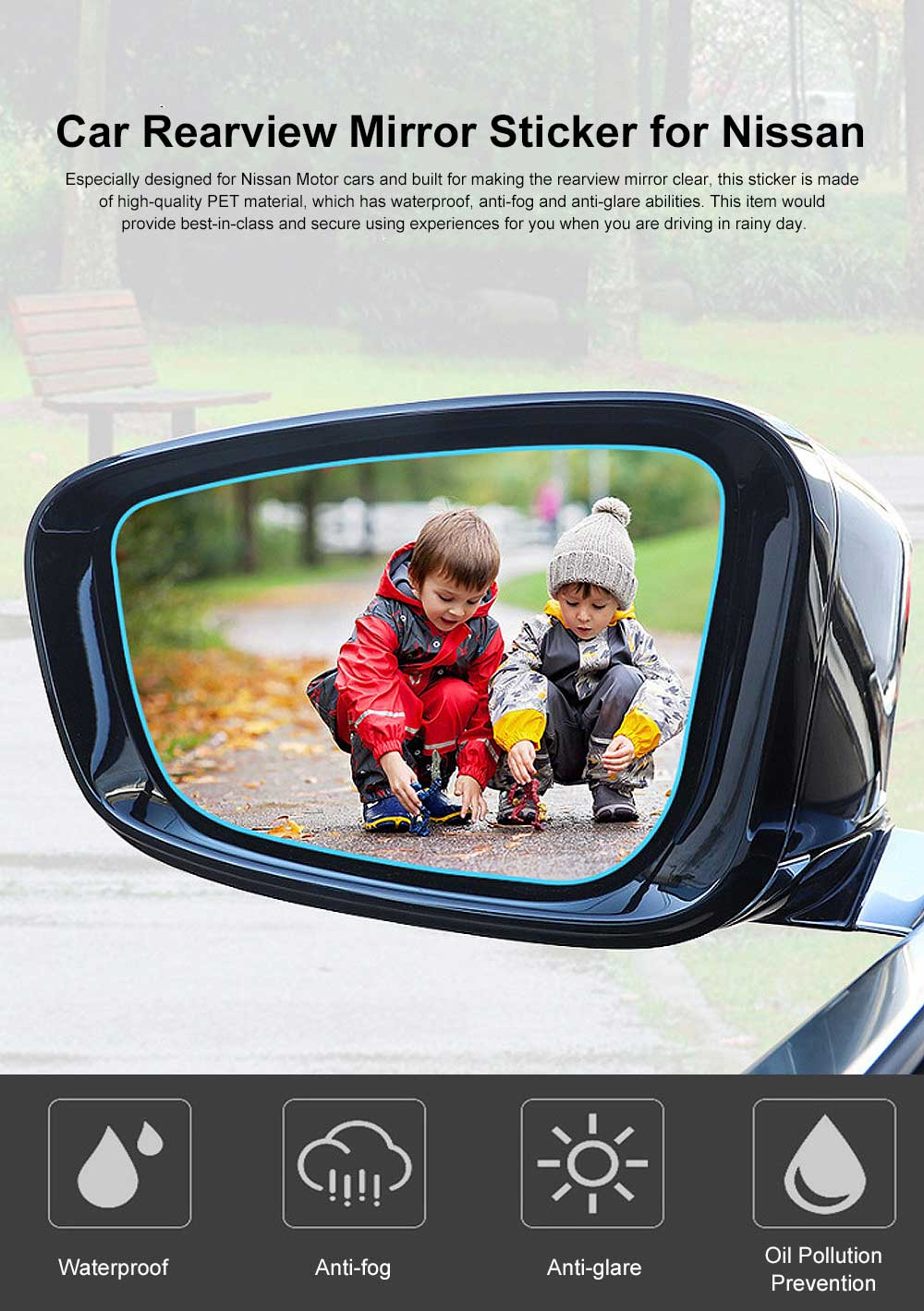 HD Waterproof Anti-fog Mirror Sticker for Car Rear View, Anti-glare Rain-proof Automobile Mirror Pad for Nissan Motor 0