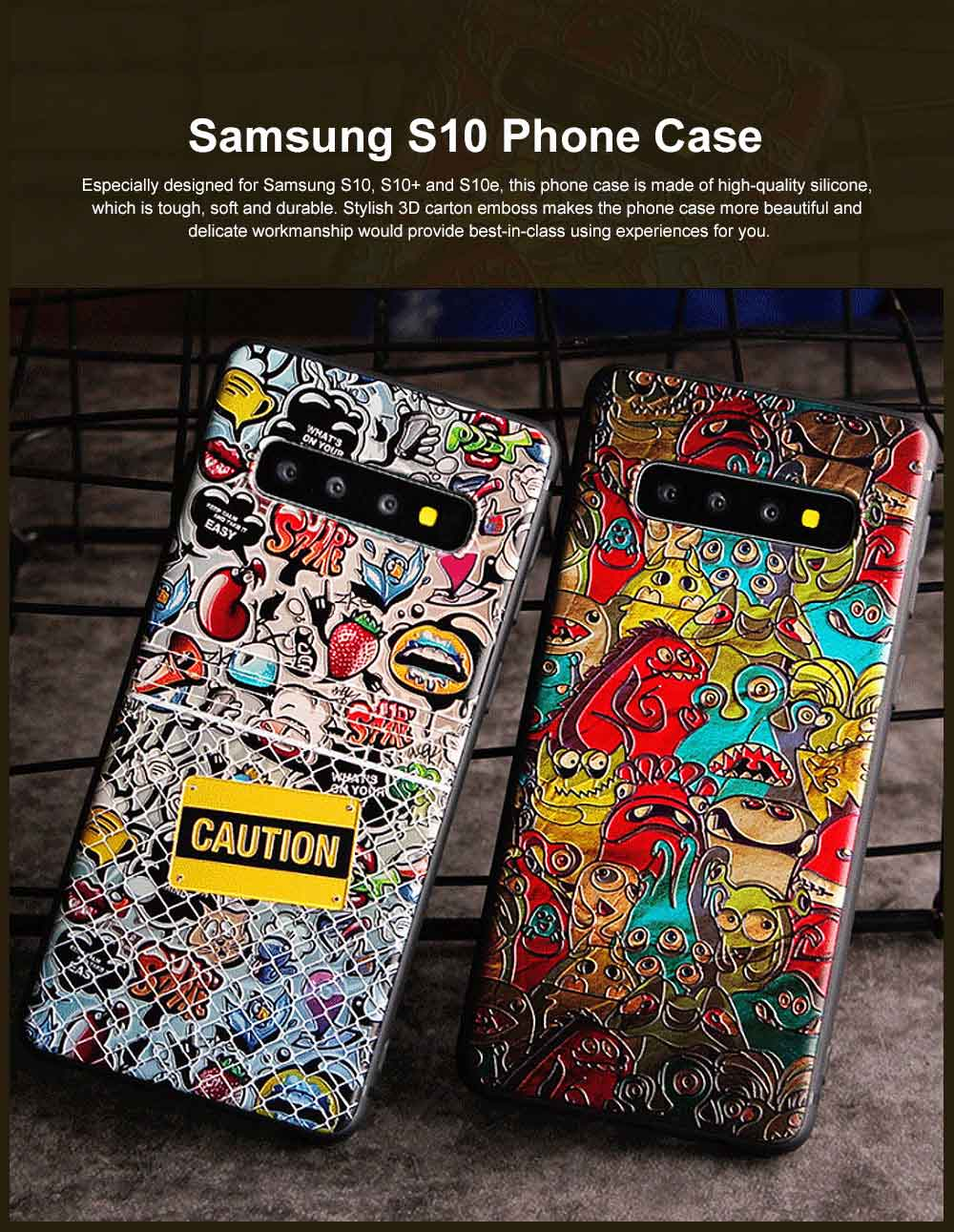 Creative Stylish Carton 3D Emboss Phone Case, Soft Silicone Colorful Painting Phone Skins, Full Protection Phone Cover for Samsung S10+ S10e S10 Plus with Rope 0