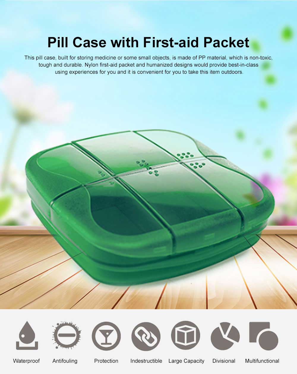 Minimalist Outdoor Moisture-proof Pill Case Box with Nylon First-aid Packet, 6 Separate Compartments Waterproof Medicine Storage Organizer Case 0