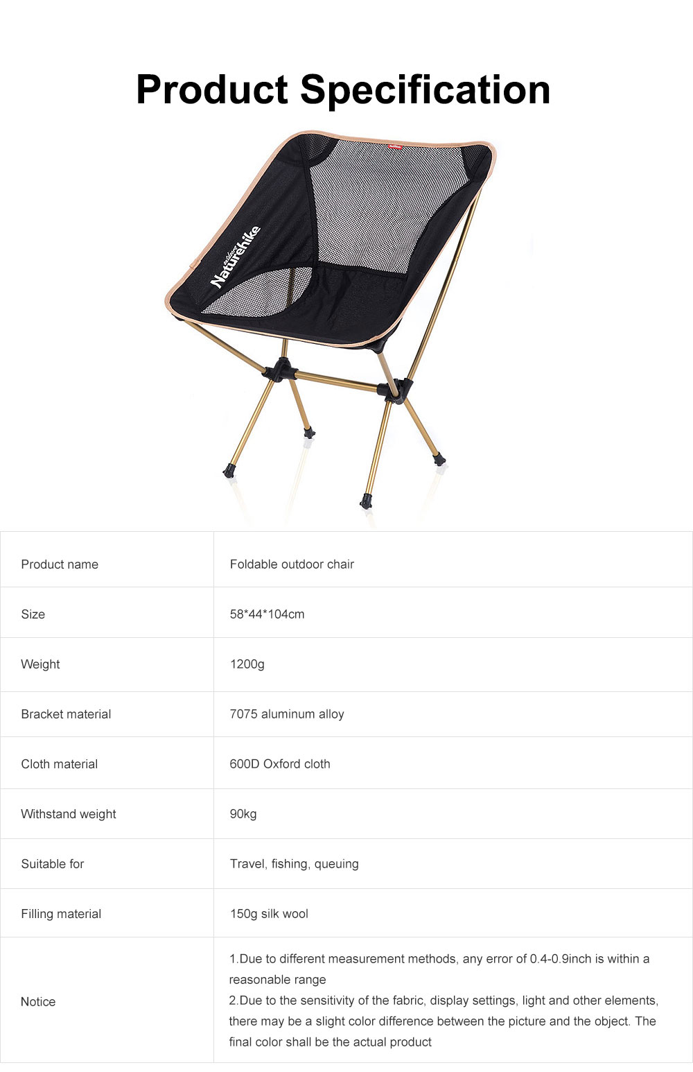 Foldable Outdoor Chair, Durable Oxford Fabric Stools with Aluminum Frame for Camping Fishing Cycling Traveling 7