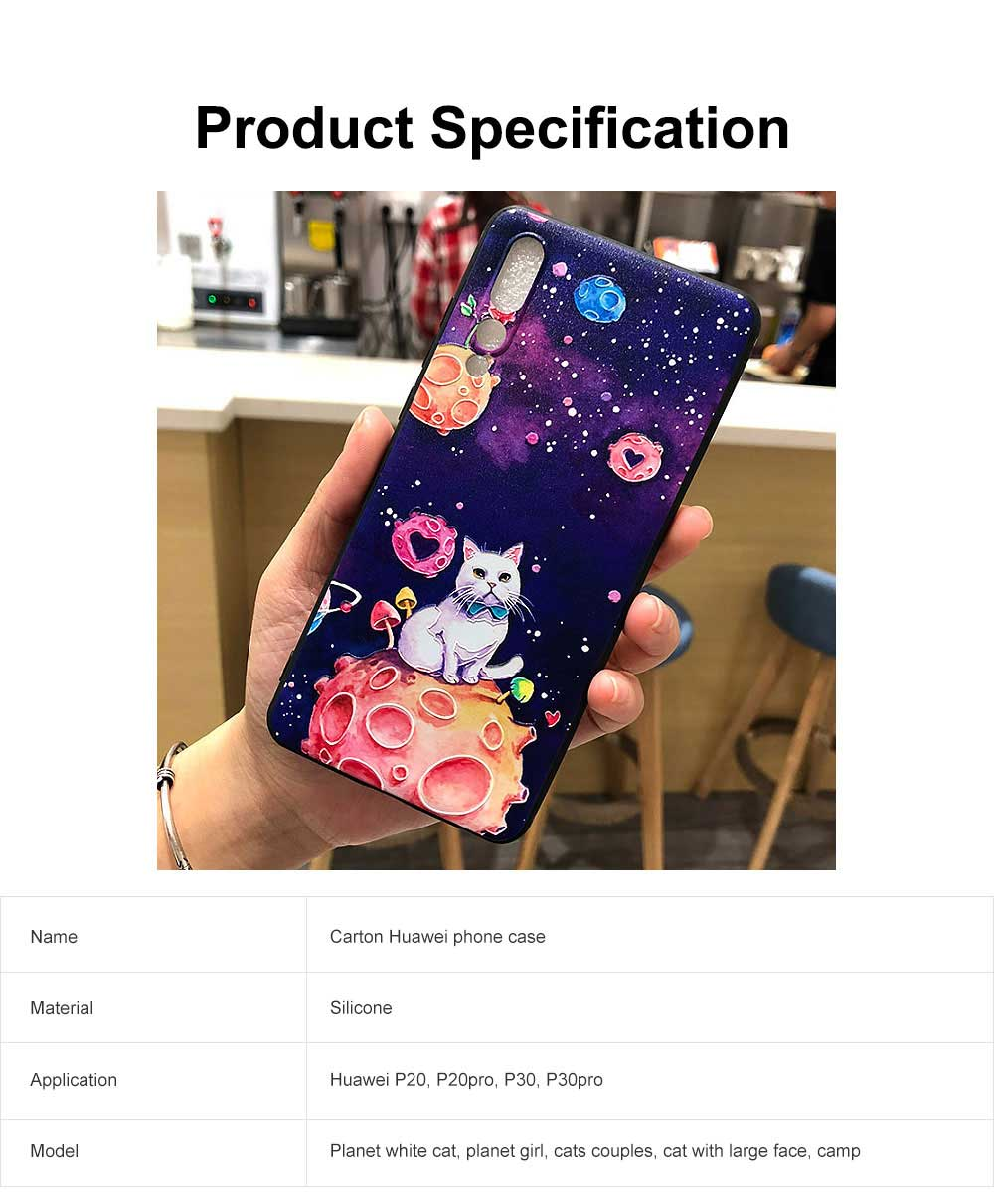 Creative Cute Cartoon Cat Pattern 3D Emboss Huawei Phone Case, Breaking-proof Silicone Full Protection Phone Cover for Huawei P20 P30 Pro 6