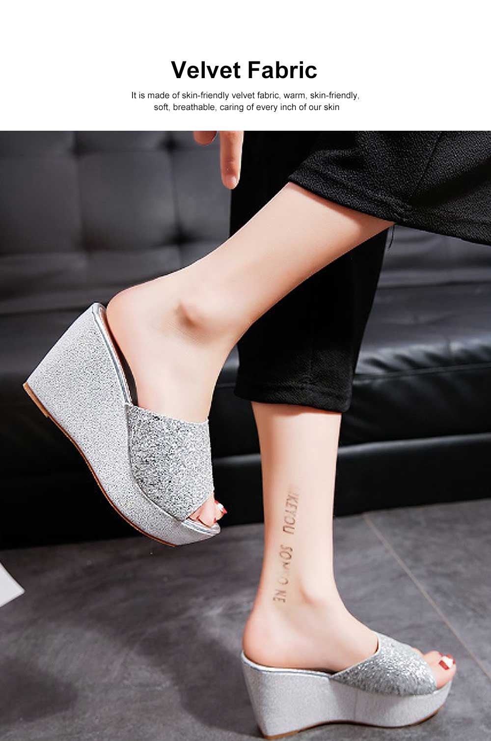 2019 Latest Platform Shoes in Vogue, Fashionable Glittering High Quality Wedge Heel Sandals with Tinsel 1