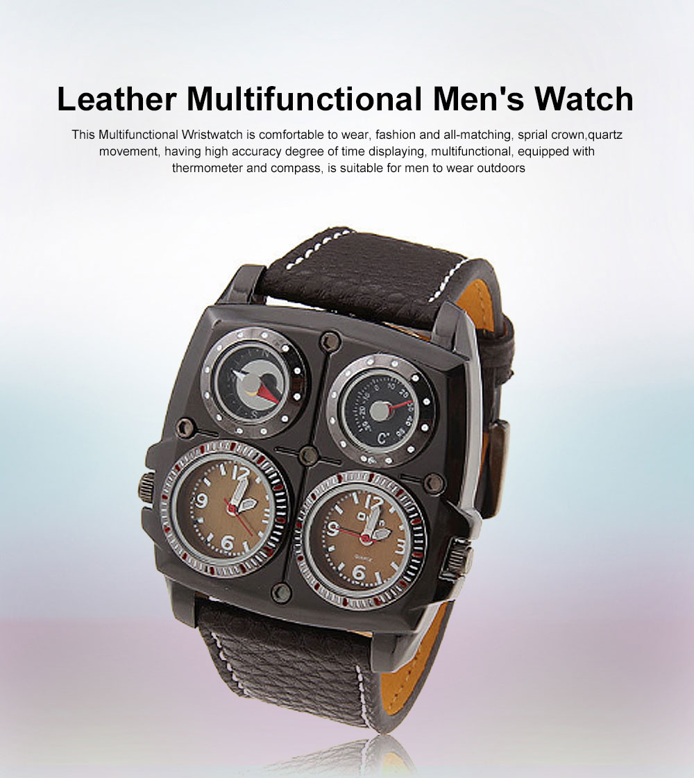 Men's Watch with Leather Watch Band, Sports Wrist Watch for Outdoors Mountain Climbing, Dual-display Mechanical Watch 0