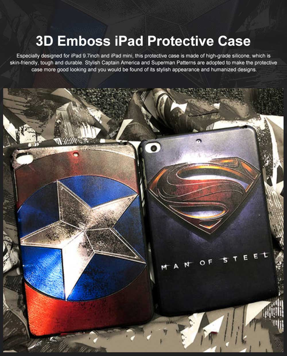 Lightweight Creative Pattern iPad Protective Case, Skin-friendly Comfortable 3D Emboss Protection Cover for iPad 9.7 inch Mini 1 2 3 4 5 0
