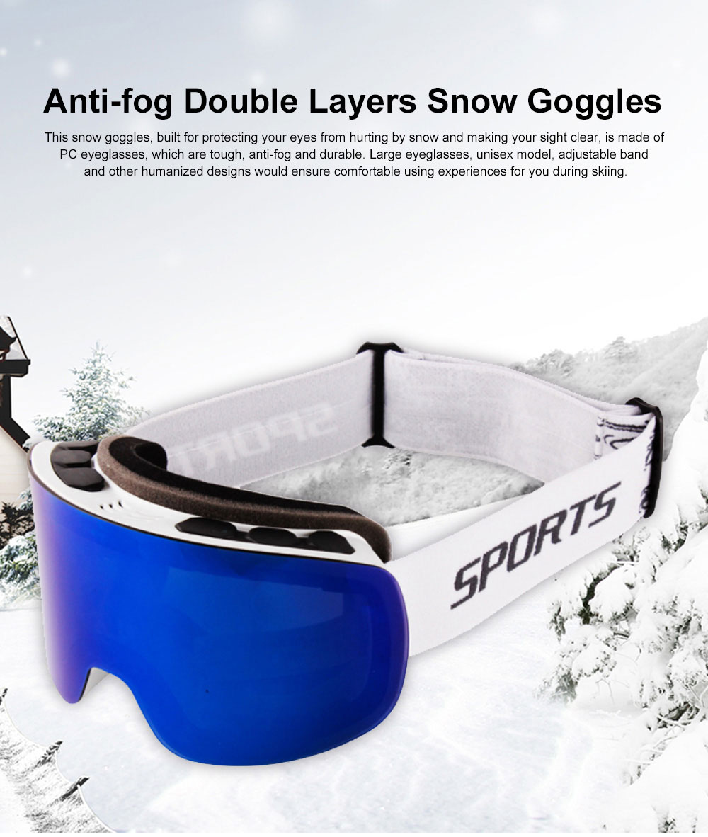 Winter Skiing Cycling Anti-fog Snow Goggles Double Layers, Unisex Cold Outdoors Sporting Eye Protector Glasses for Ski Lovers 0