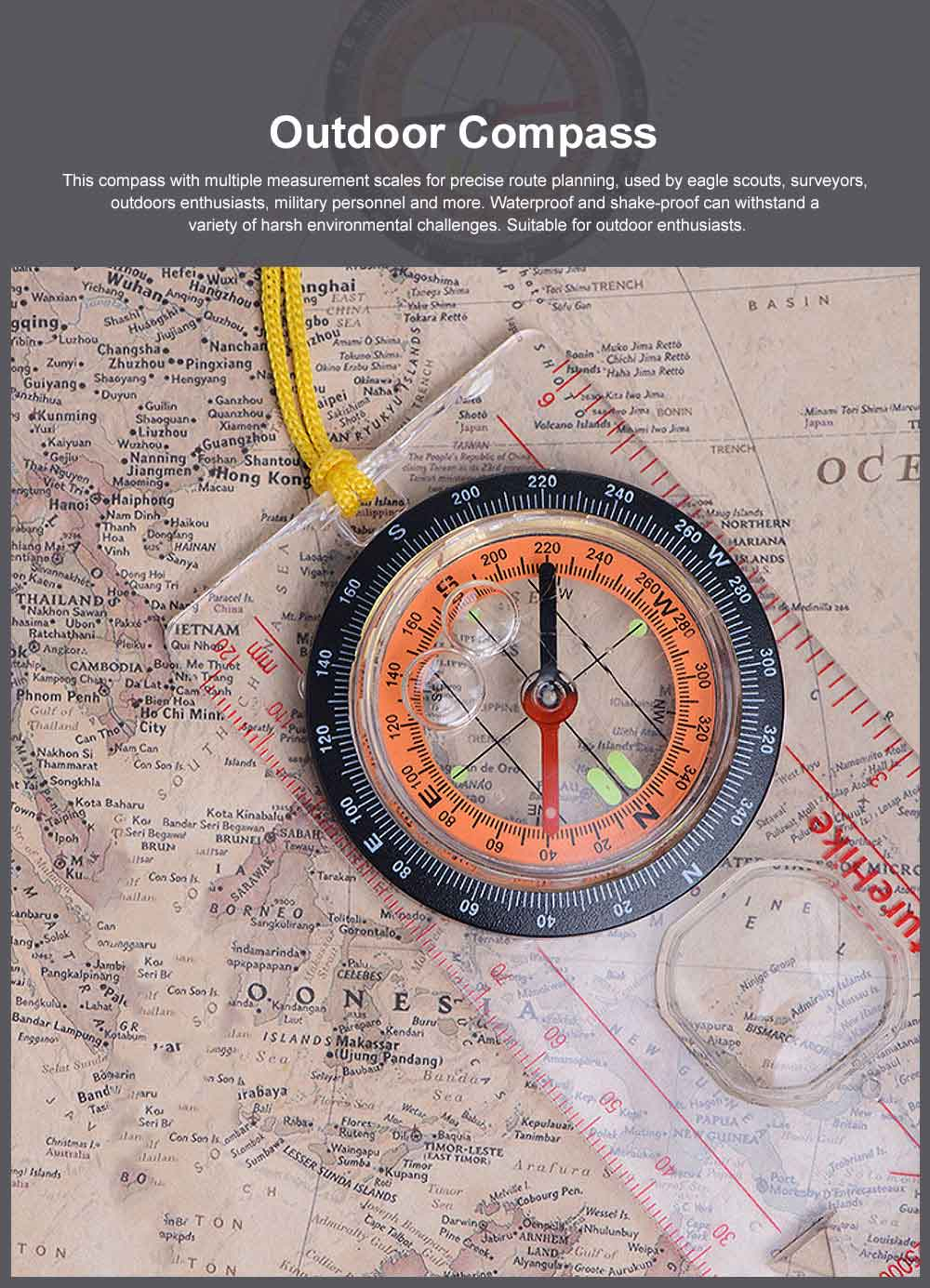 Outdoor Compass for Camping, Hiking, Portable Compass Multifunctional Geologic Luminous Compass with Magnifier 0