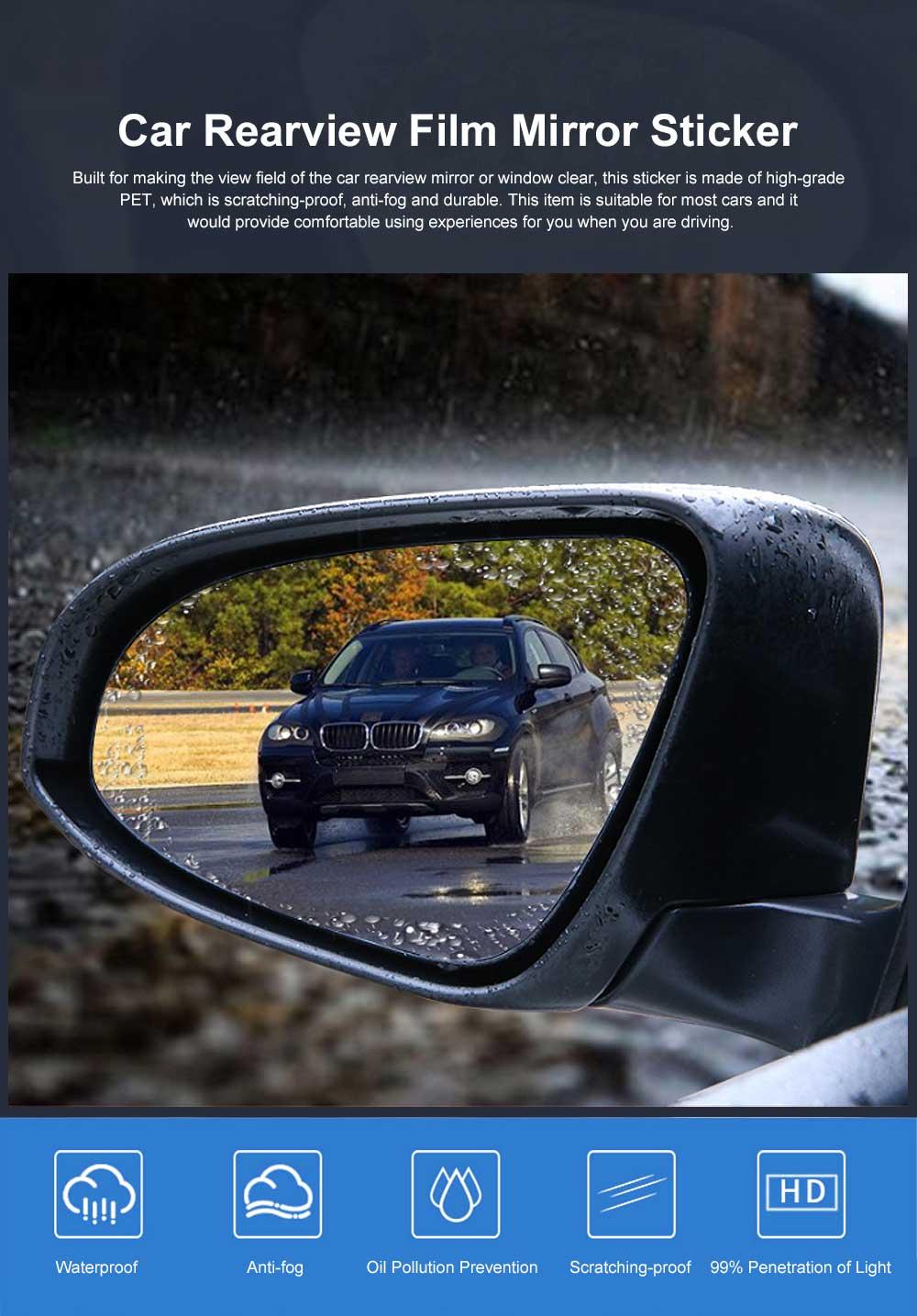 Waterproof Anti-fog Film Car Rearview Mirror Sticker, Anti-glare Anti-Reflection Car Window Pasting Anti Reflective Film 2PCS 0