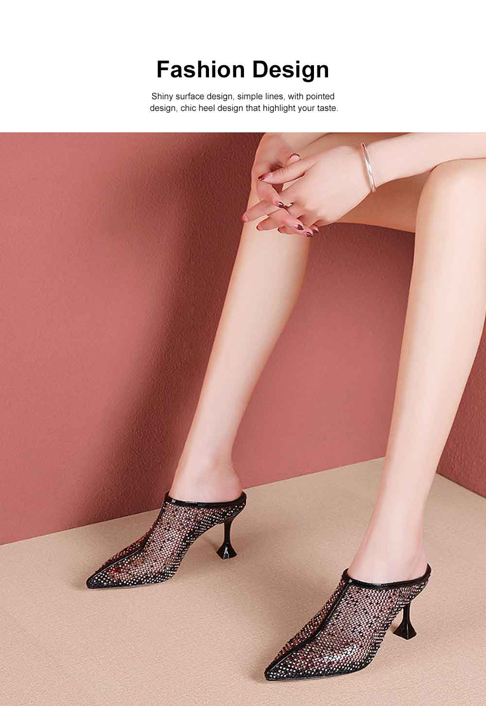 Women's Mid-heel Shoes, Comfortable Pointed Toe Casual Shoe, Fashion Mesh Slim Heel Stiletto Heels Shoes 1