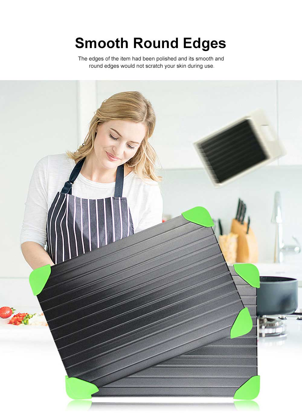 Creative Aluminum Fast Meat Defrosting Tray, Functional Frozen Steak Fish Food Metal Thawing Plate 1