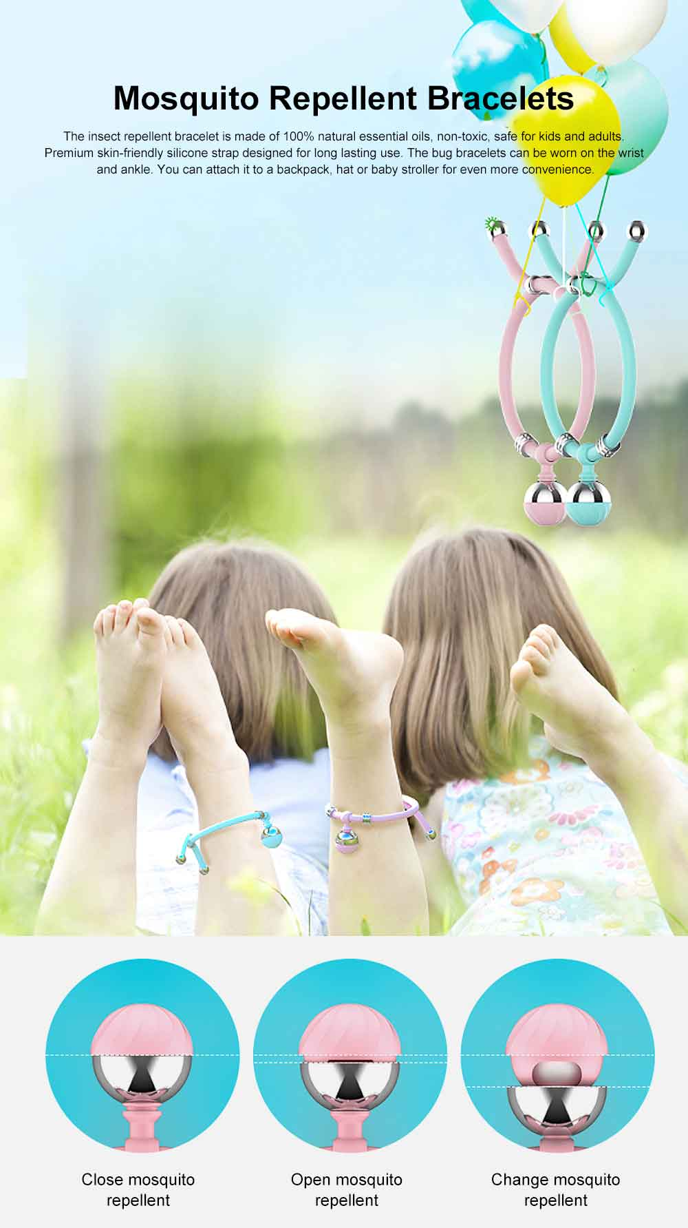 Mosquito Repellent Bracelets, Silicone Mosquito Insect Repeller for Kids Adults, Outdoors Mosquito Repellent Ball 0