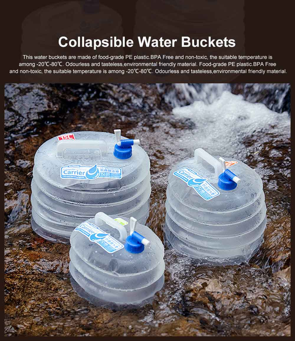 Collapsible Water Buckets, BPA Free Folding PE Water Storage Box, Leakproof Water Container Large Capacity Drinking Tank 0