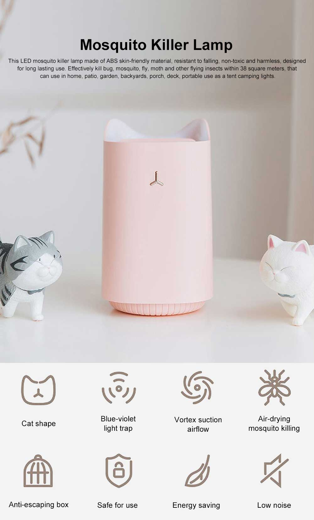 USB Mosquitoes Killer Lamp, Cute Cat Shape Silent Pest Bug Insect Repeller Light for Indoor Outdoor Bedroom 0