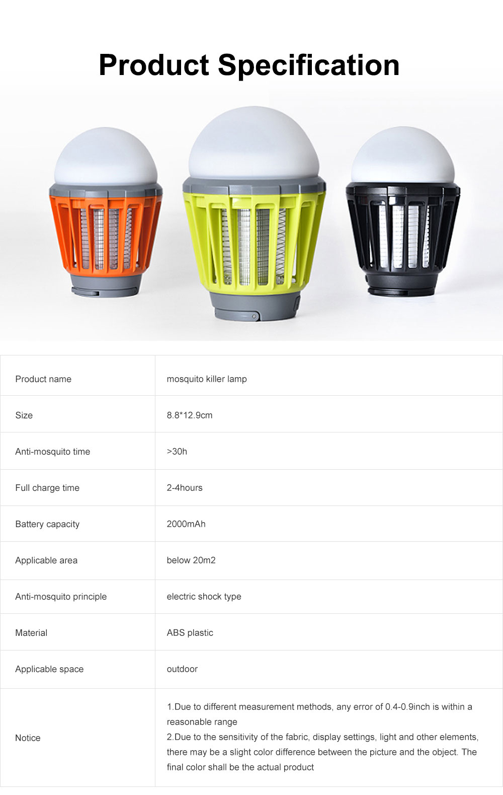 Multi-purpose Mosquito Killer Lamp, LED Electronic Insect & Fly Killer for Indoor Outdoors, Bug Zapper Light Bulb 6