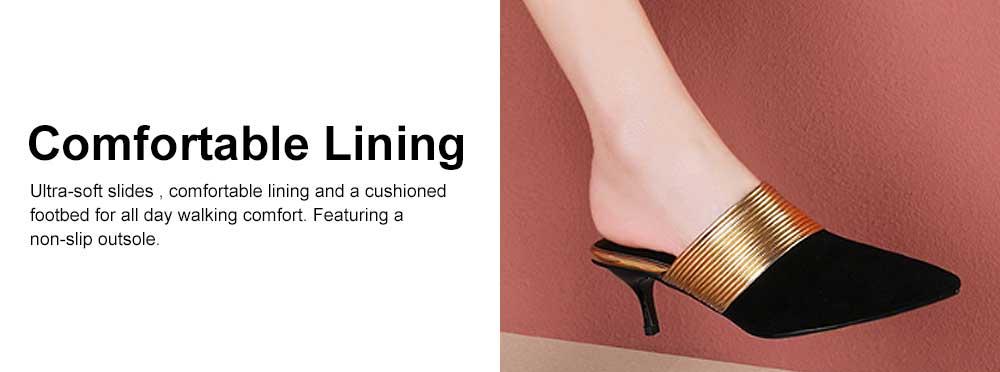Women's Mid-heel Half Warped Shoes, Comfortable Pointed Toe Casual Shoe, Fashion Pure Color Slim Heel Stiletto Heels 4