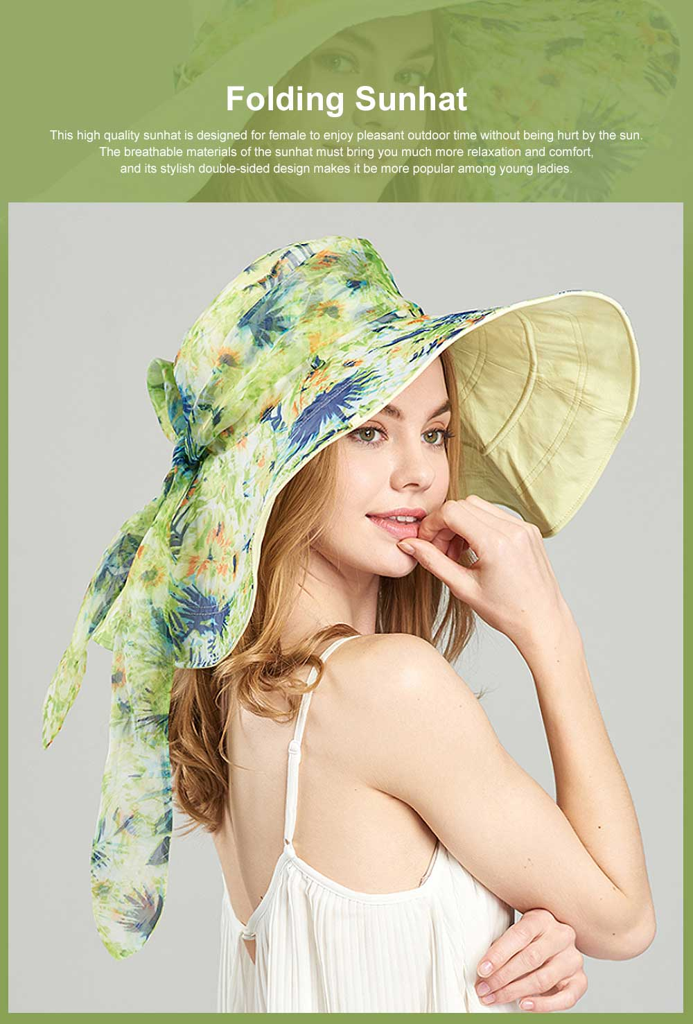 Folding Sunhat with Breathable Material, Stylish Ribbon Hat for Women, Best Choice Summer Sunhat for Beach, Outdoors 0