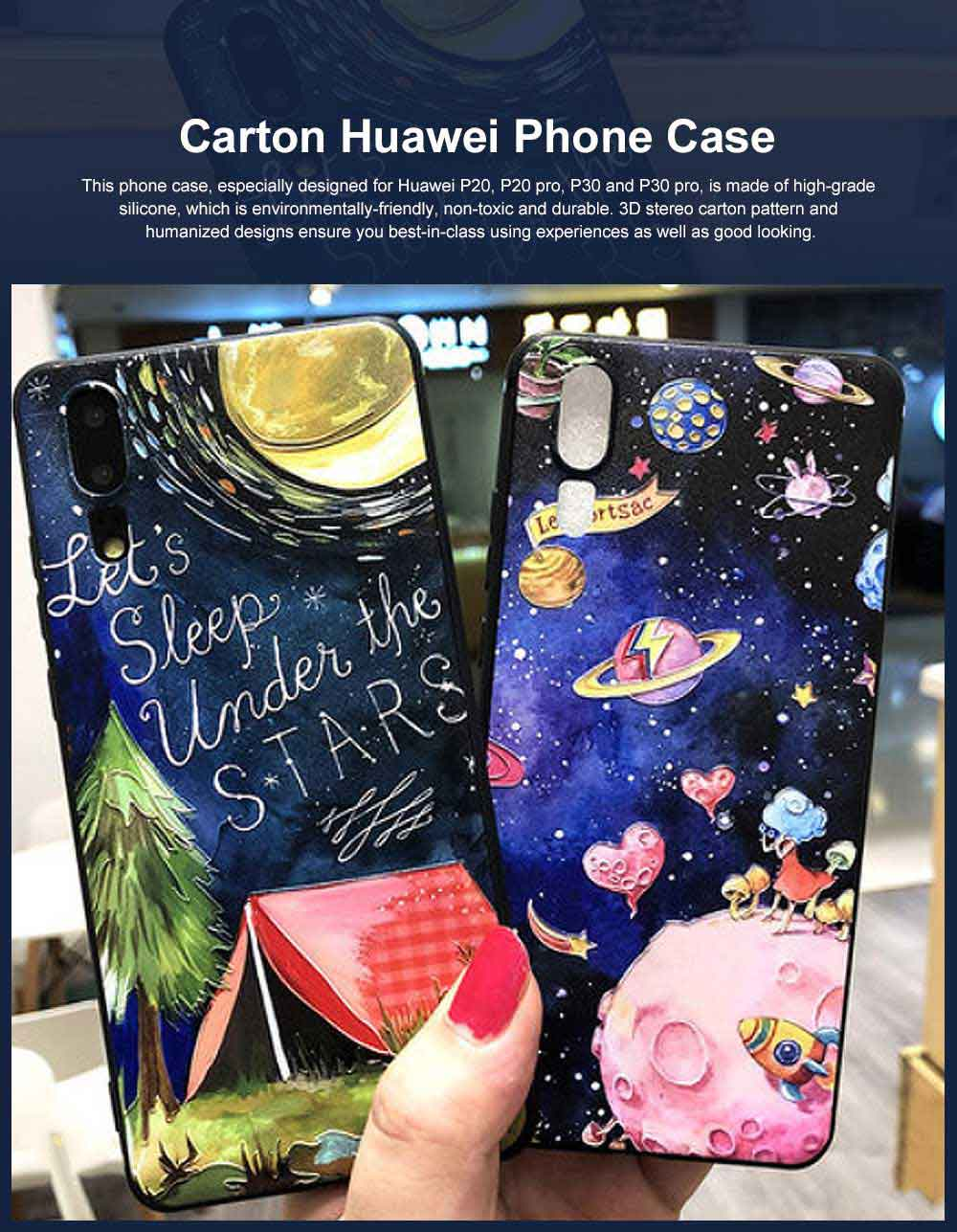Creative Cute Cartoon Cat Pattern 3D Emboss Huawei Phone Case, Breaking-proof Silicone Full Protection Phone Cover for Huawei P20 P30 Pro 0