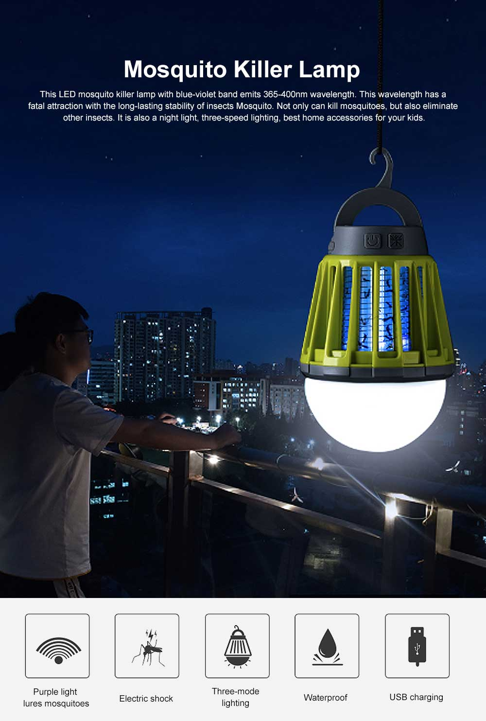 Multi-purpose Mosquito Killer Lamp, LED Electronic Insect & Fly Killer for Indoor Outdoors, Bug Zapper Light Bulb 0