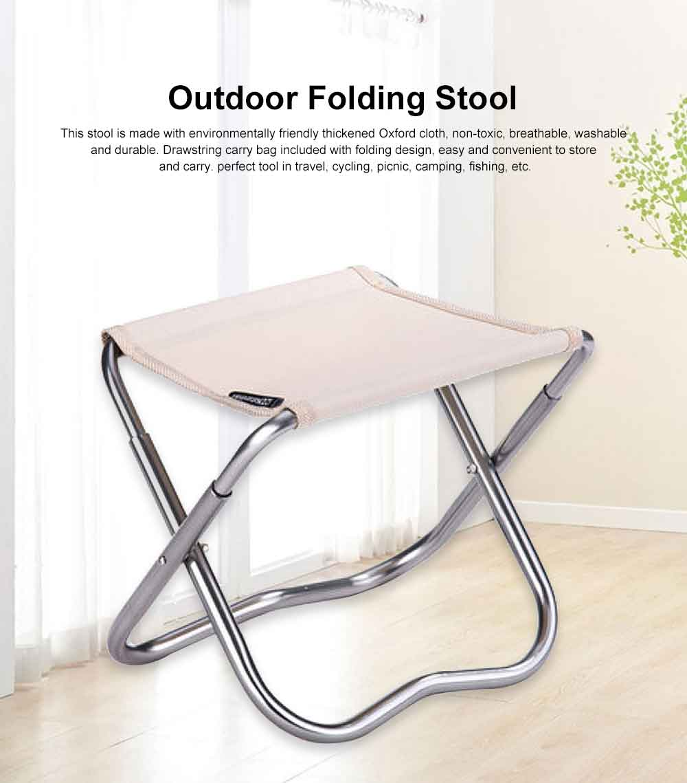 Outdoor Folding Stool, Durable Oxford Fabric Stools with Aluminum Holder for Camping Fishing Cycling Traveling 0