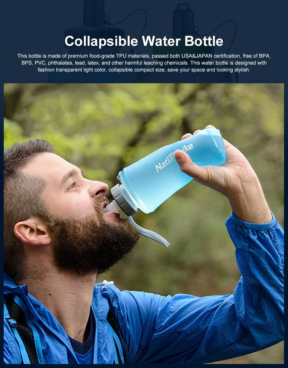 Collapsible Water Bottle TPU Lightweight Water Bottles Great for Sport Gym Yoga Swimming Fitness Travel Running Outdoor Drinking Bottle 0