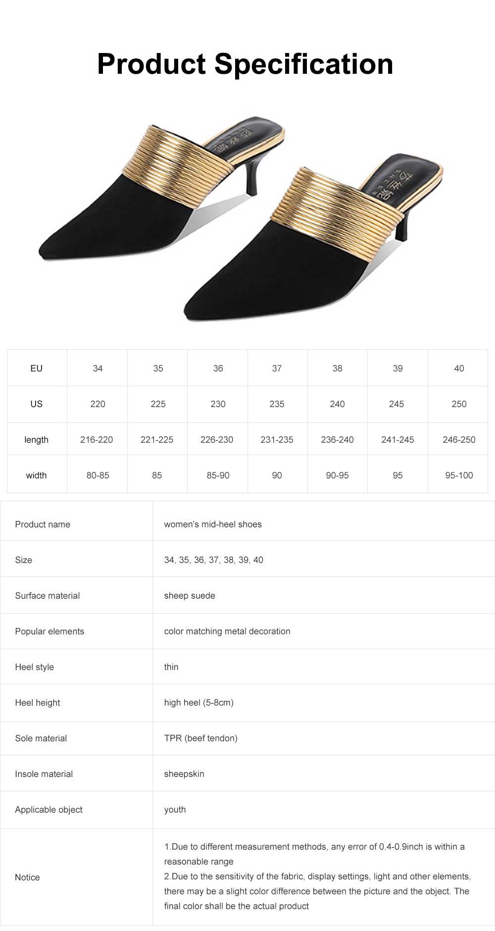 Women's Mid-heel Half Warped Shoes, Comfortable Pointed Toe Casual Shoe, Fashion Pure Color Slim Heel Stiletto Heels 6