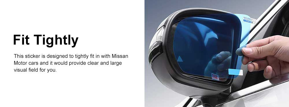 HD Waterproof Anti-fog Mirror Sticker for Car Rear View, Anti-glare Rain-proof Automobile Mirror Pad for Nissan Motor 3