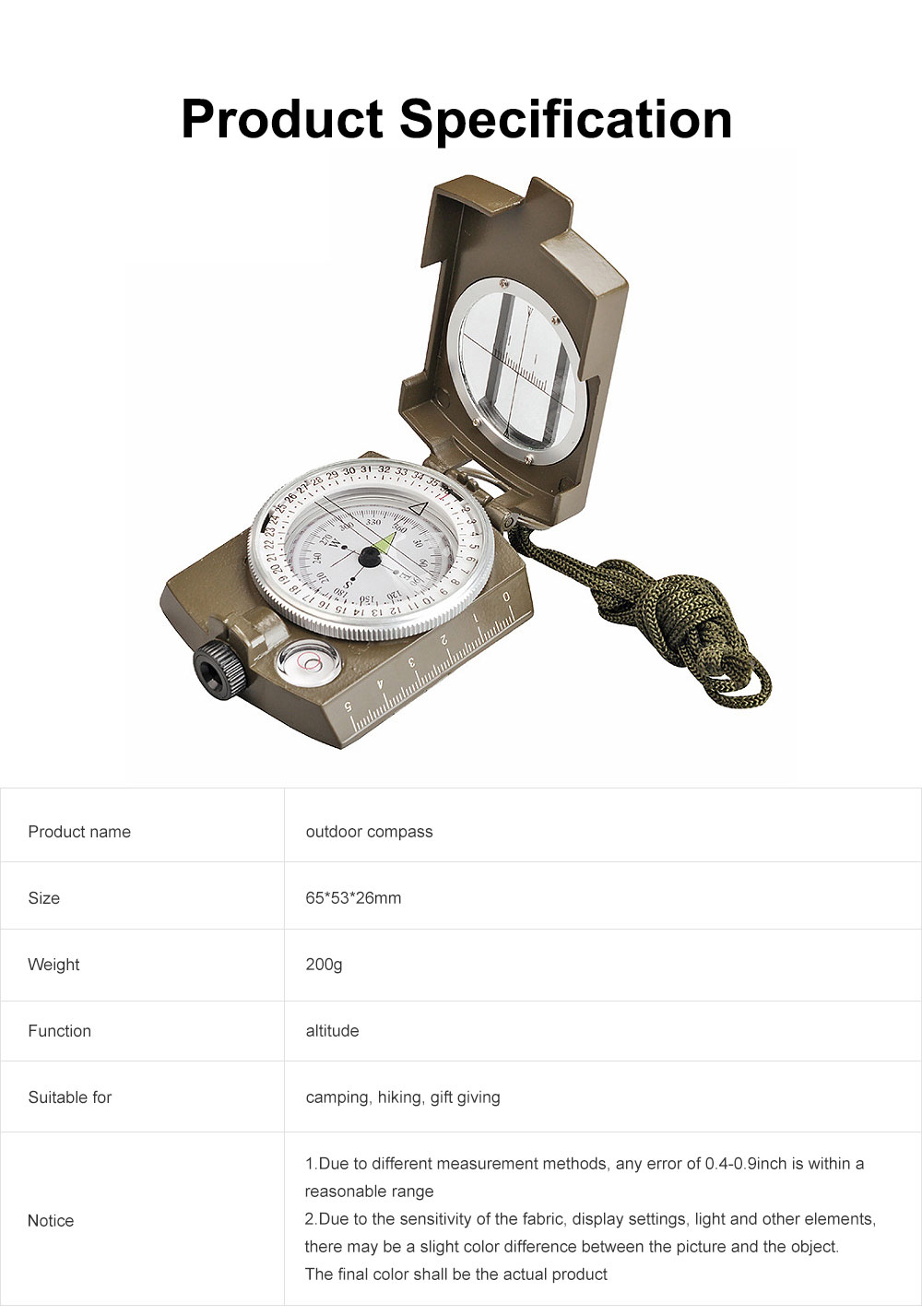 Outdoor Compass for Hiking, Camping, Portable Compass Metal Sighting Navigation with Magnifier Inclinometer Ruler, Luminous Compass 6