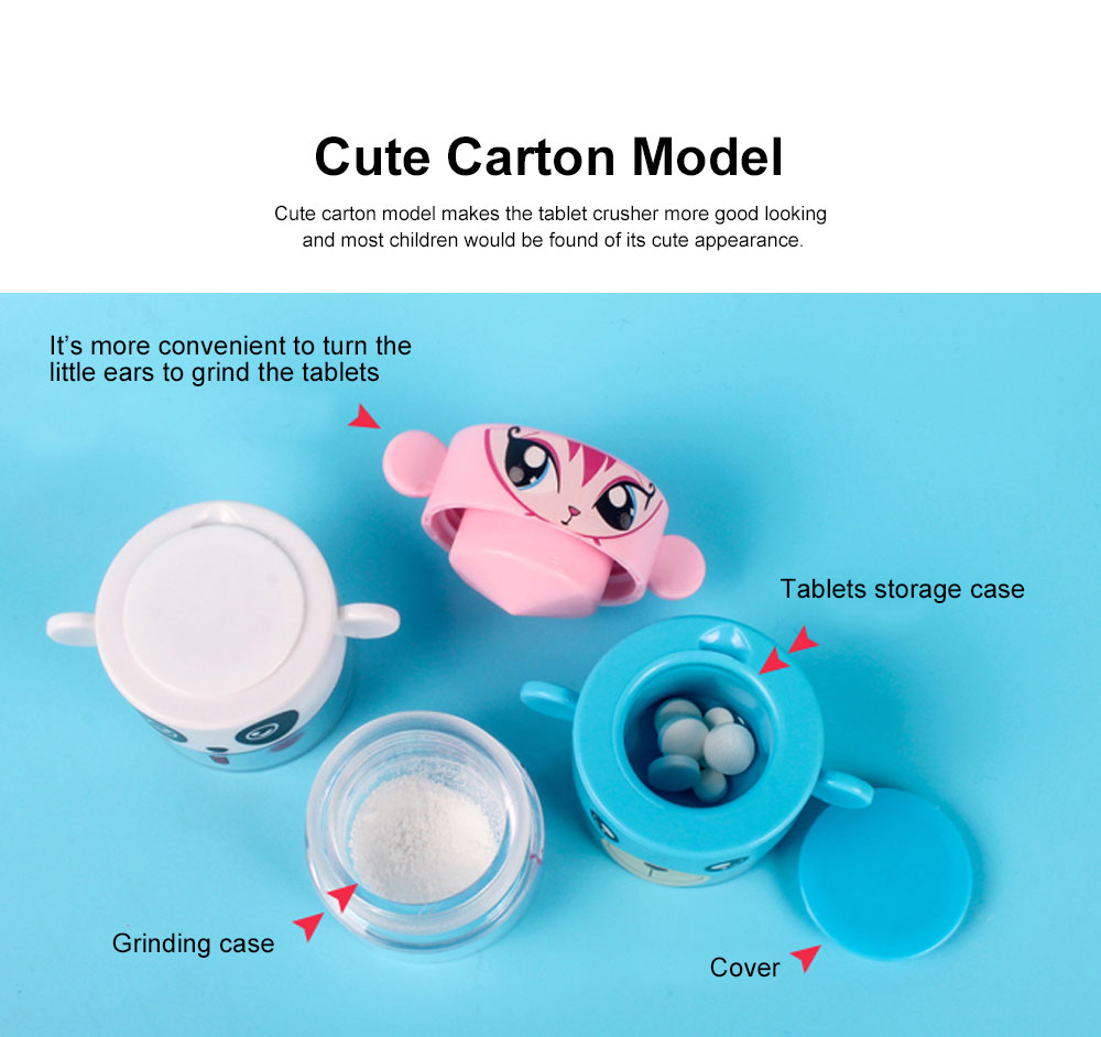 Cute Cartoon Pill Case Tablet Crusher for Kids, Pill Powder Grinder with Compartments for Storing 1 Day Dose 1