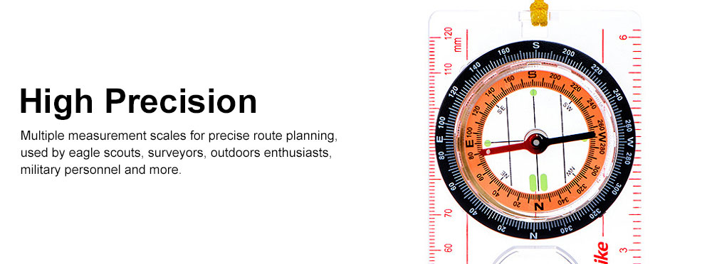Outdoor Compass for Camping, Hiking, Portable Compass Multifunctional Geologic Luminous Compass with Magnifier 2