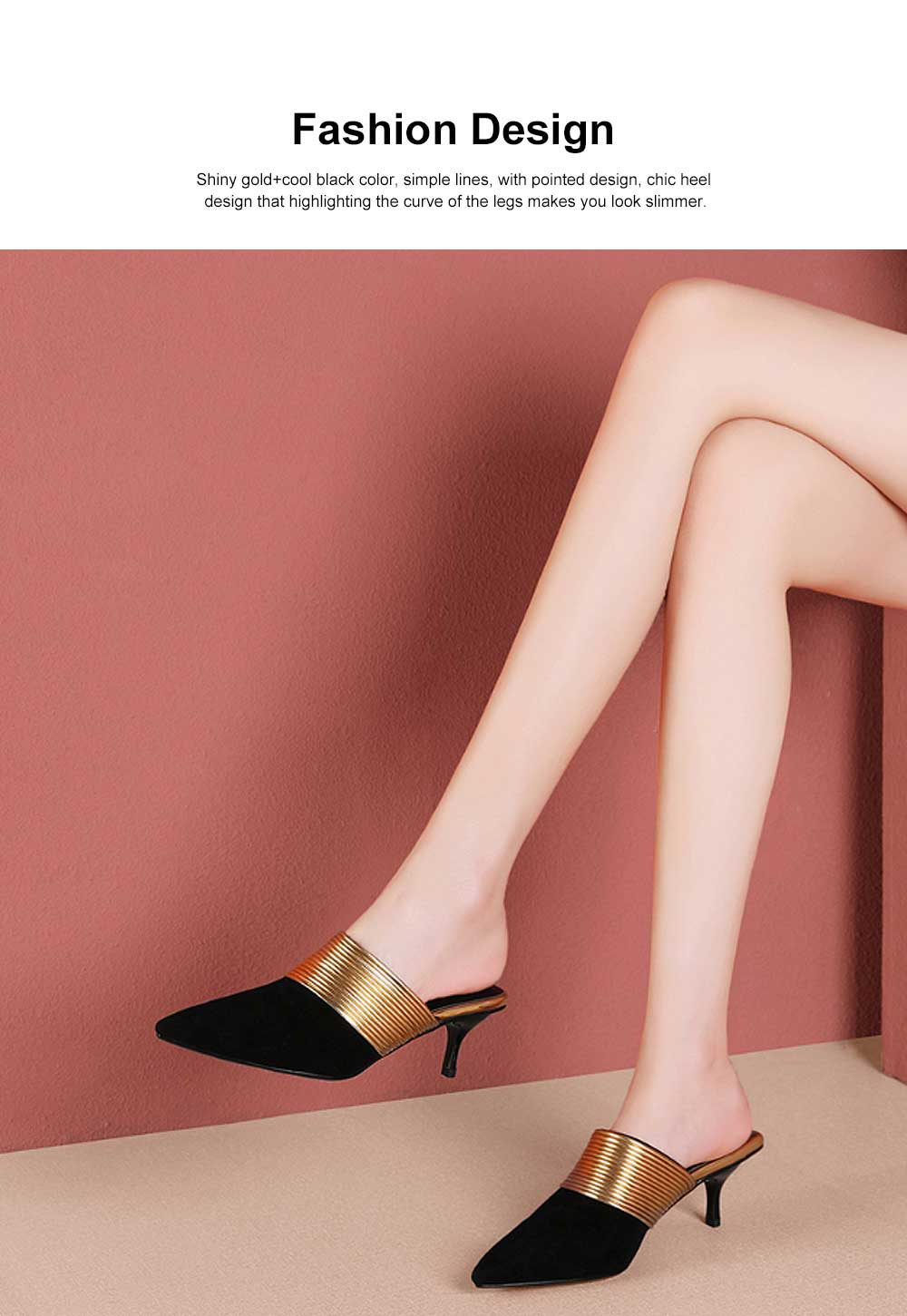Women's Mid-heel Half Warped Shoes, Comfortable Pointed Toe Casual Shoe, Fashion Pure Color Slim Heel Stiletto Heels 1