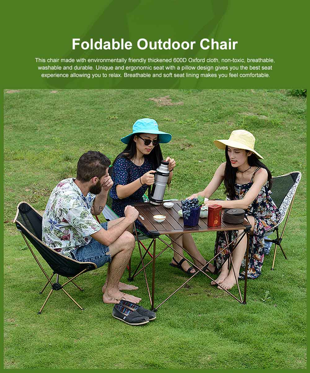 Foldable Outdoor Chair, Durable Oxford Fabric Stools with Aluminum Frame for Camping Fishing Cycling Traveling 0