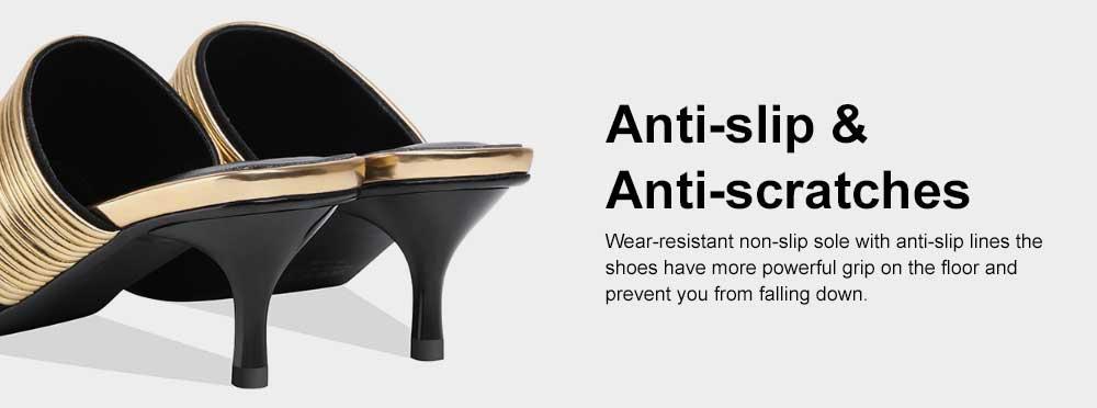 Women's Mid-heel Half Warped Shoes, Comfortable Pointed Toe Casual Shoe, Fashion Pure Color Slim Heel Stiletto Heels 5
