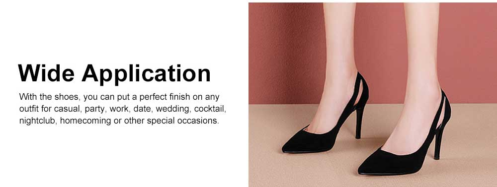 Women Black High Heels, Classic Pointed Toe Stiletto High-heel Shoes, Genuine Leather Pumps for Office, Wedding,Party, Lady Heeded Shoes 2
