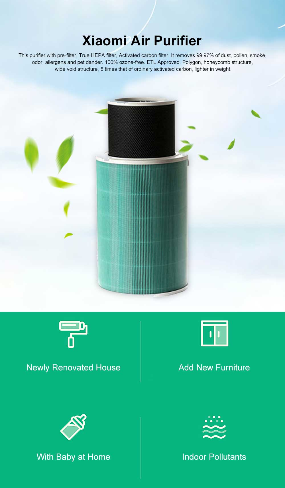 Xiaomi Air Purifier, 3 Stage Filtration Desktop Air Cleaner with Compact Design, Super Quiet for Home Office Air Purifier 0