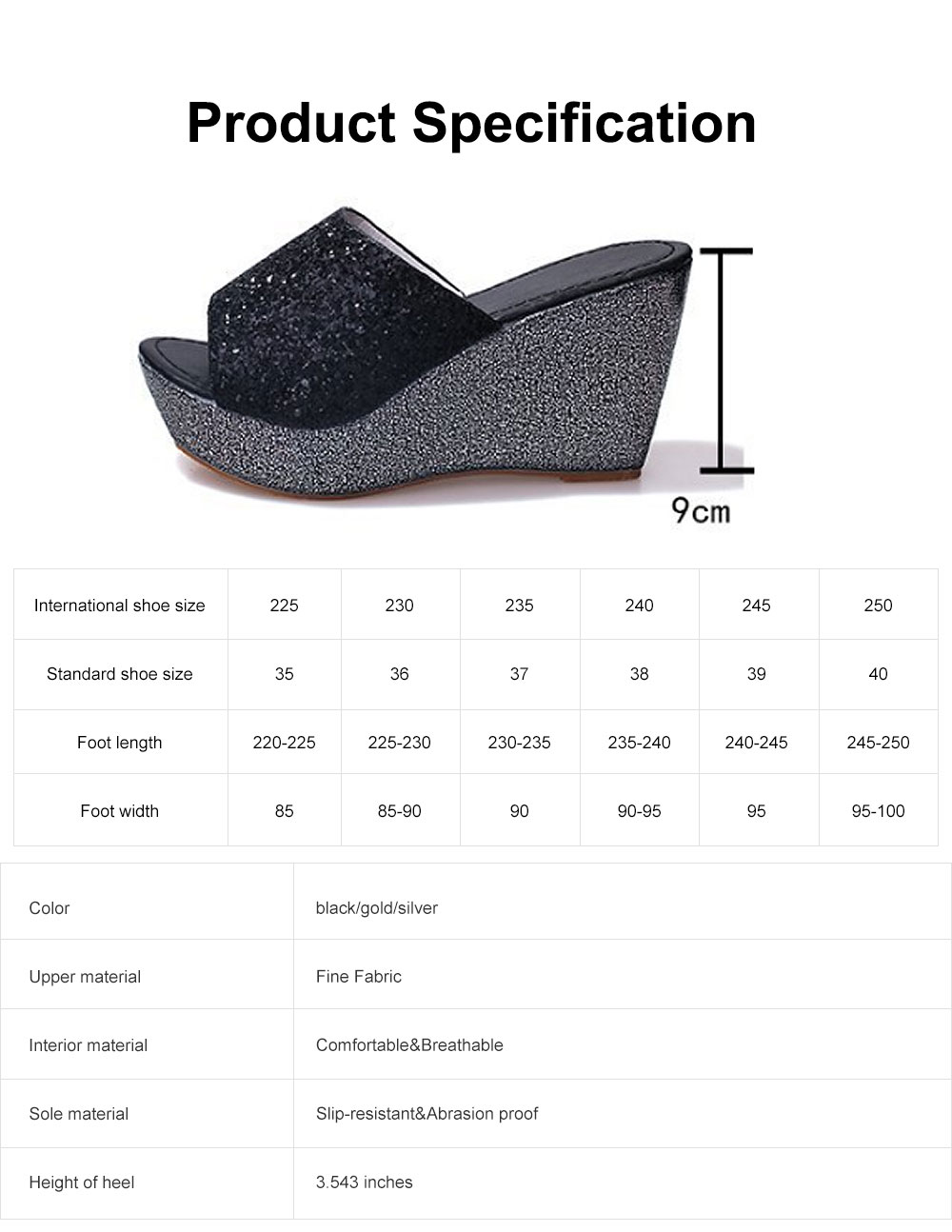 2019 Latest Platform Shoes in Vogue, Fashionable Glittering High Quality Wedge Heel Sandals with Tinsel 6