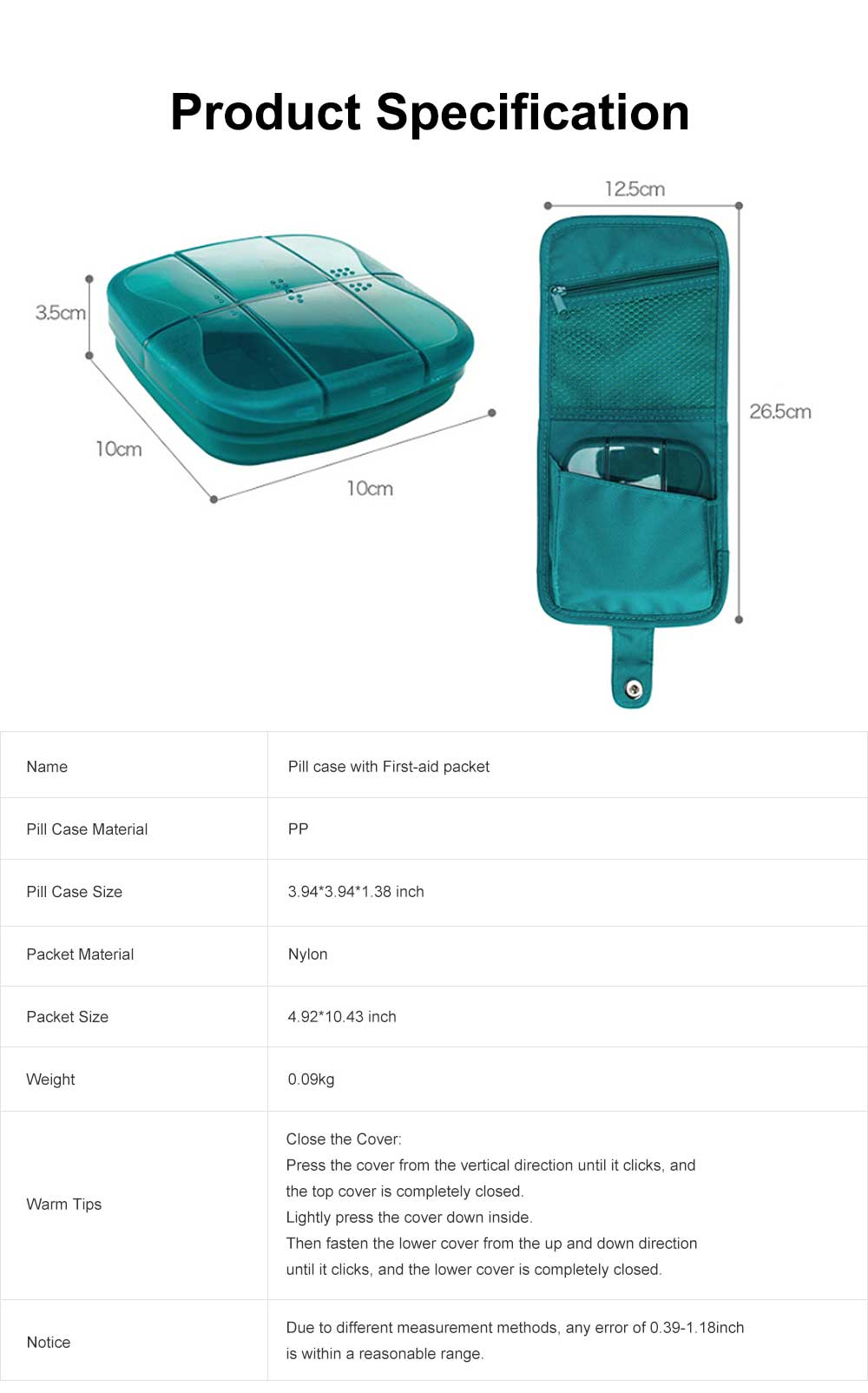 Minimalist Outdoor Moisture-proof Pill Case Box with Nylon First-aid Packet, 6 Separate Compartments Waterproof Medicine Storage Organizer Case 7