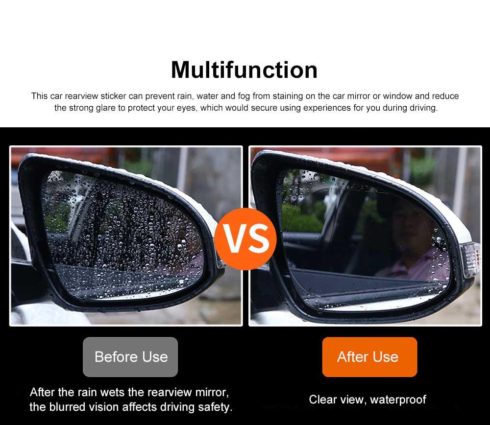 Waterproof Anti-fog Film Car Rearview Mirror Sticker, Anti-glare Anti-Reflection Car Window Pasting Anti Reflective Film 2PCS 2