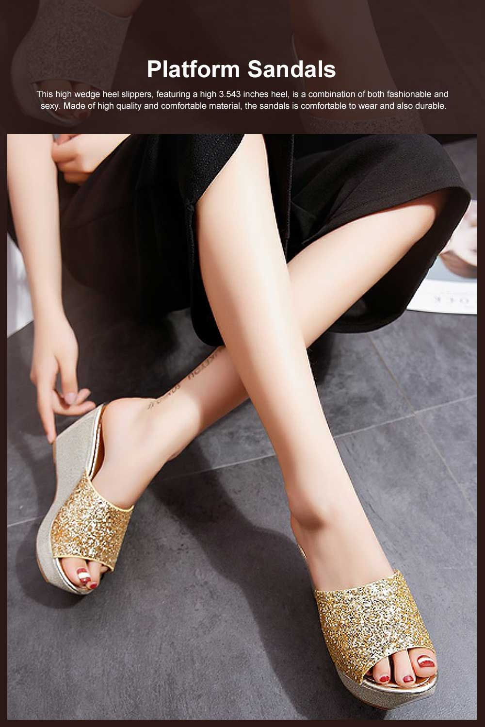 2019 Latest Platform Shoes in Vogue, Fashionable Glittering High Quality Wedge Heel Sandals with Tinsel 0