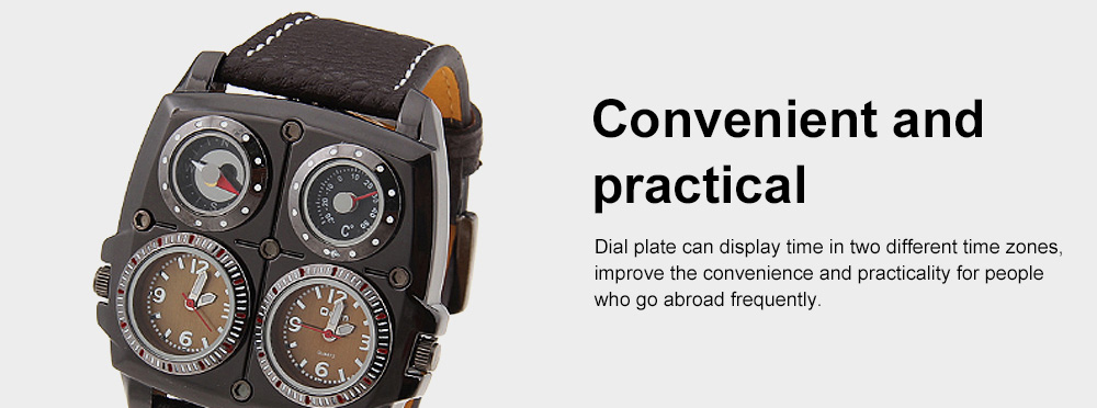 Men's Watch with Leather Watch Band, Sports Wrist Watch for Outdoors Mountain Climbing, Dual-display Mechanical Watch 3