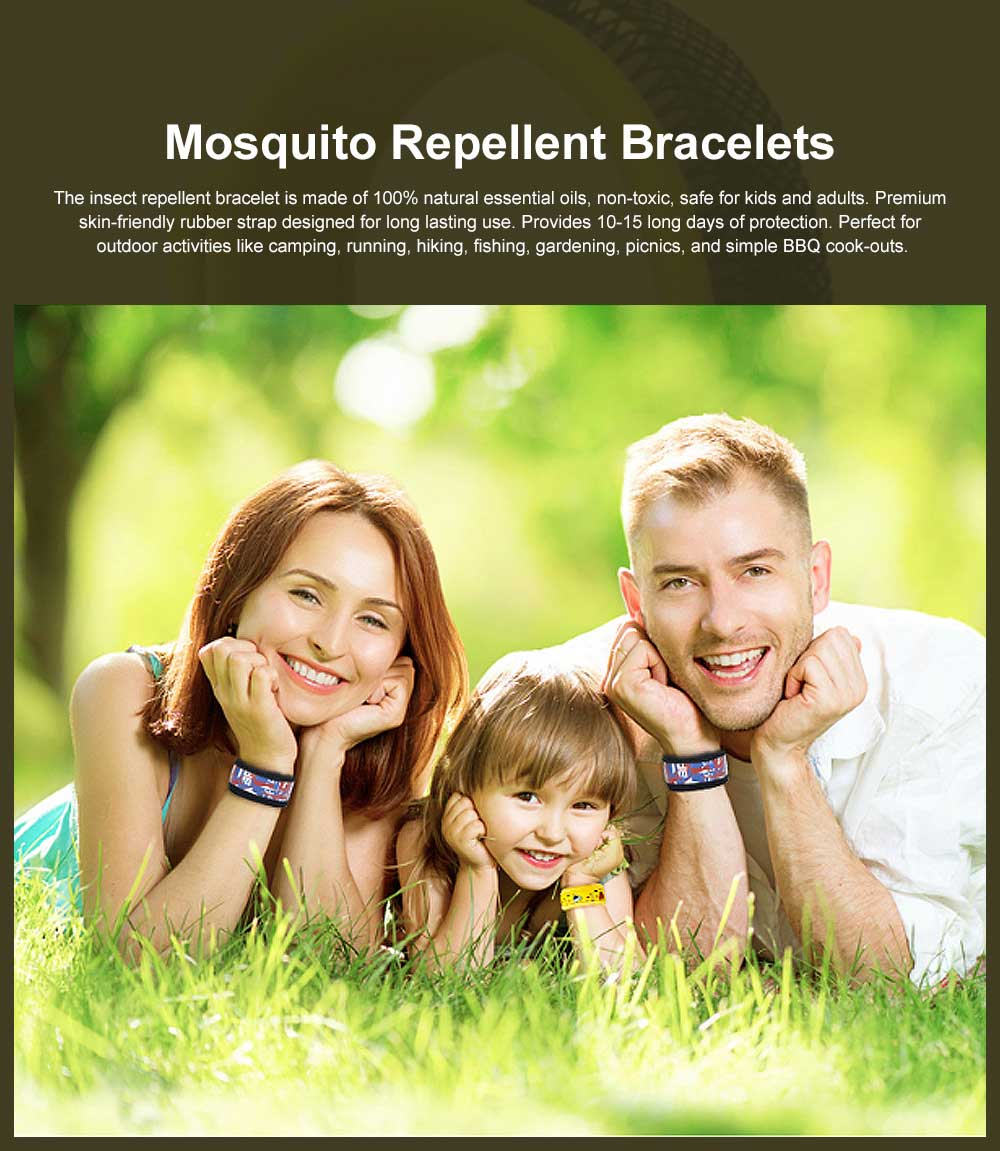 Mosquito Repellent Bracelets with Natural Citronella, DEET-free Non-toxic for Indoor Outdoor, Adjustable for Adult and Kids, Perfect for Camping, Hiking, Travelling 0