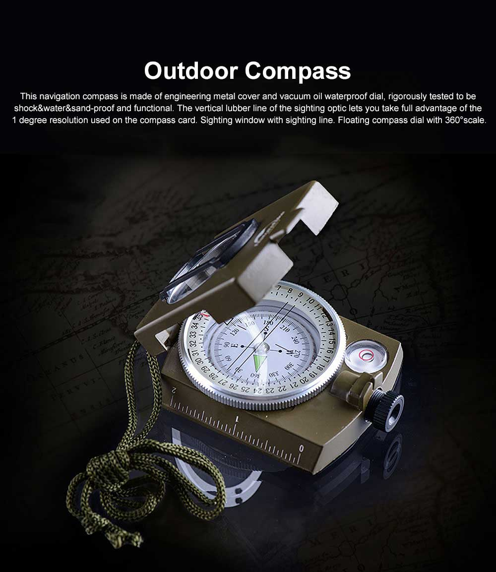 Outdoor Compass for Hiking, Camping, Portable Compass Metal Sighting Navigation with Magnifier Inclinometer Ruler, Luminous Compass 0