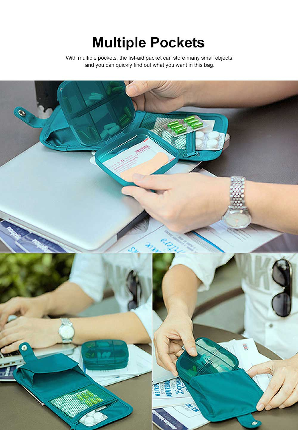 Minimalist Outdoor Moisture-proof Pill Case Box with Nylon First-aid Packet, 6 Separate Compartments Waterproof Medicine Storage Organizer Case 1