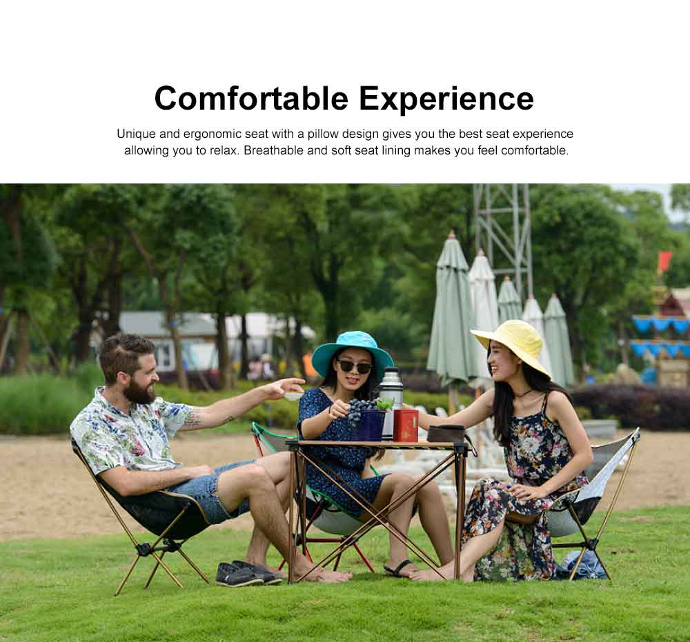 Foldable Outdoor Chair, Durable Oxford Fabric Stools with Aluminum Frame for Camping Fishing Cycling Traveling 2