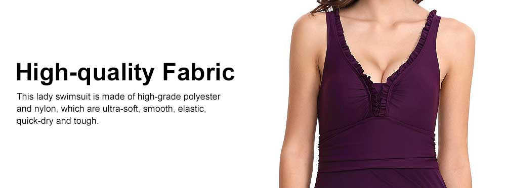 Minimalist Sexy Slim Fit Lady Swimsuit with Deep V-neck, Ultra-smooth Elastic Nylon Polyester Swimwear for Women 2