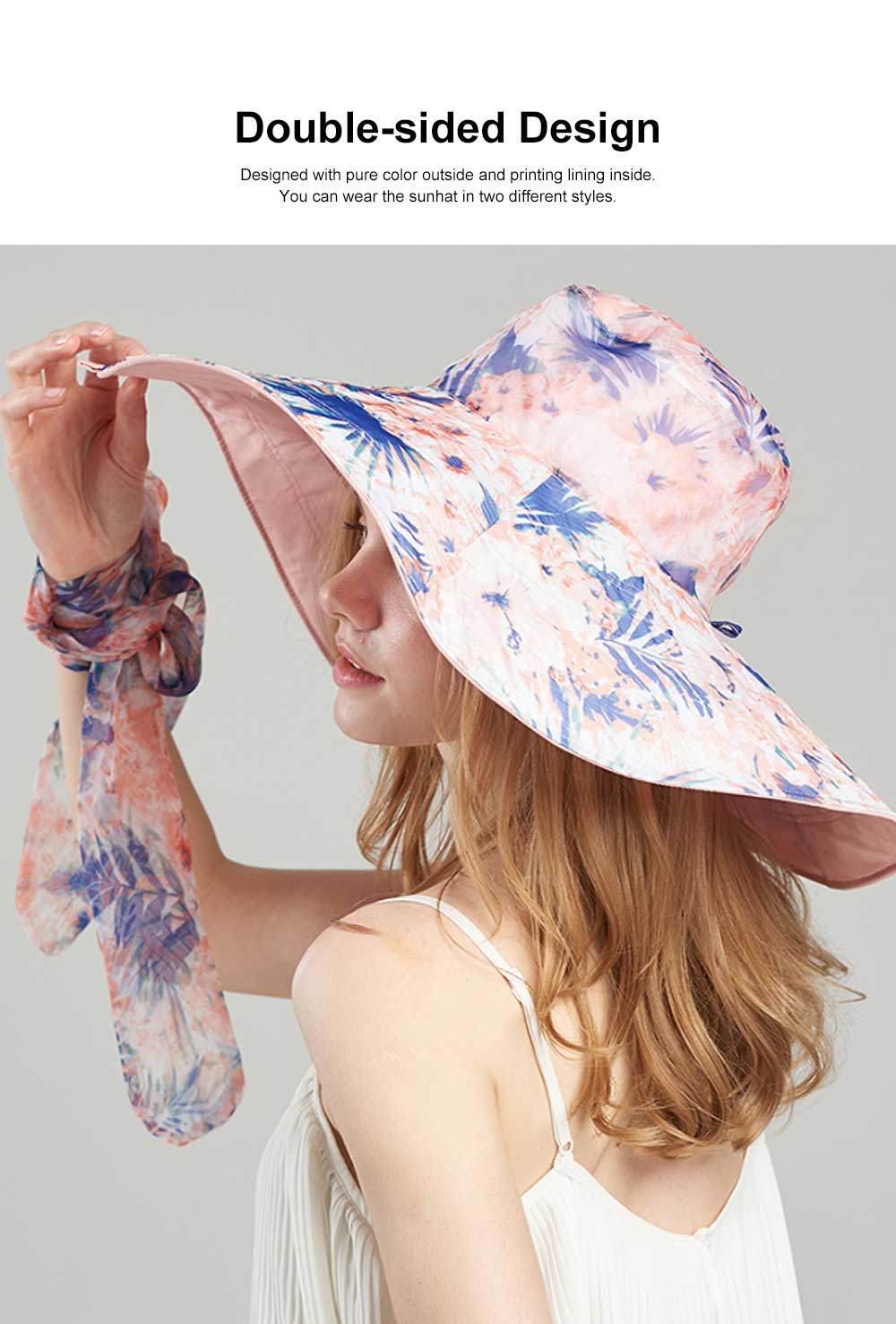 Folding Sunhat with Breathable Material, Stylish Ribbon Hat for Women, Best Choice Summer Sunhat for Beach, Outdoors 2