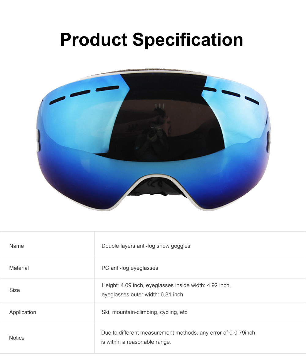 Unisex Anti-fog Ski Snow Sports Goggles, Adjustable Outdoors Snowfield Eye Protector Glasses, Double Layers Snow Sports Goggles 7