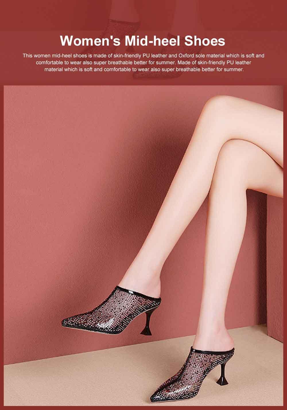 Women's Mid-heel Shoes, Comfortable Pointed Toe Casual Shoe, Fashion Mesh Slim Heel Stiletto Heels Shoes 0