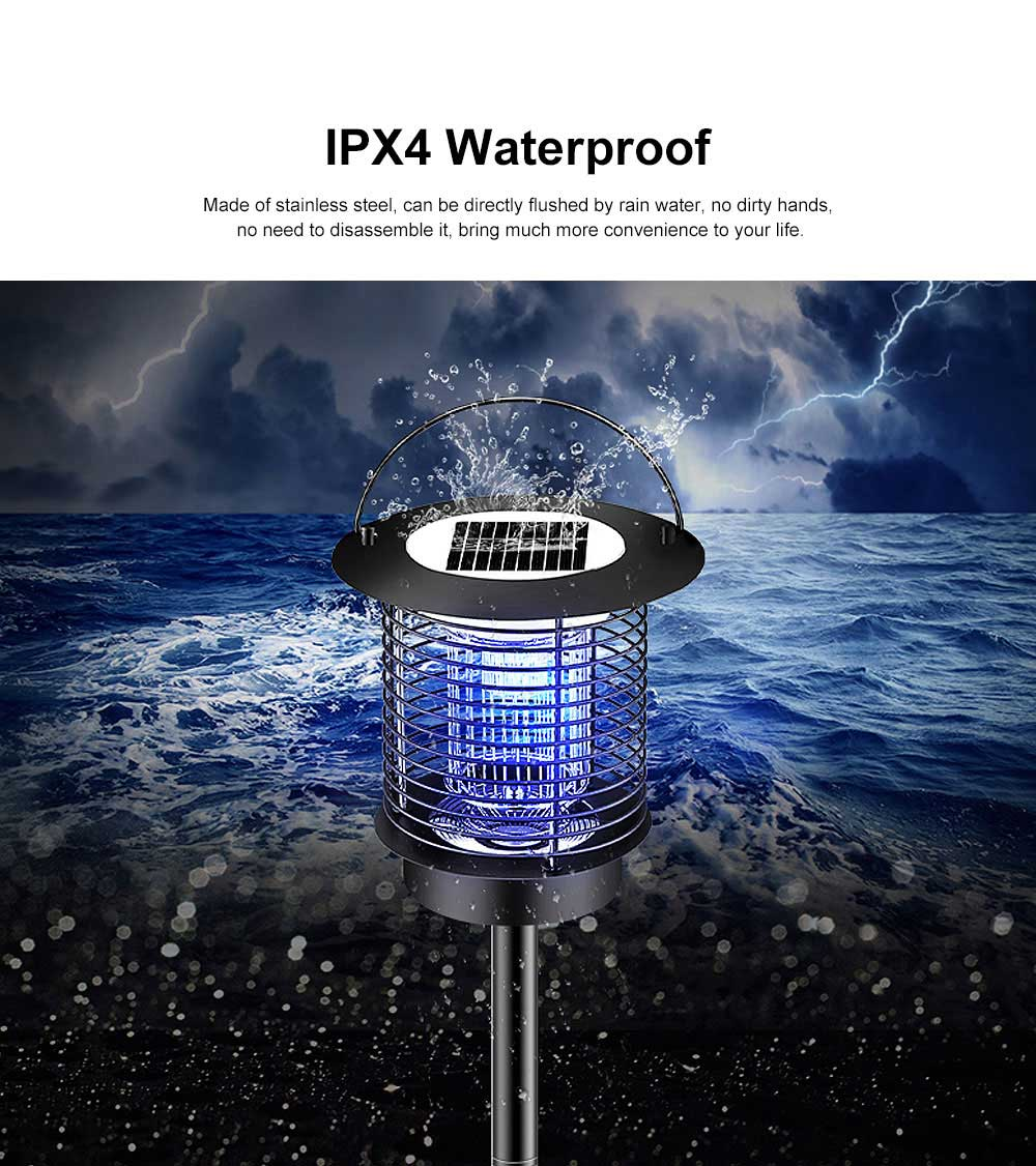 Solar Mosquito Zapper, Waterproof Solar Powered LED Light Pest Bug Zapper, Insect Mosquito Killer for Ground Garden Lawn Residential, Commercial, Industrial 4
